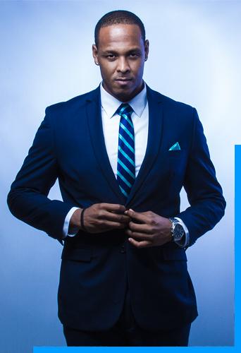 N'Kenge Drew antigua blue suit