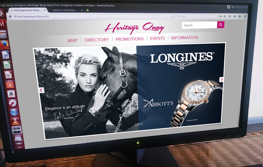 Heritage Quay Antigua website on a desktop screen