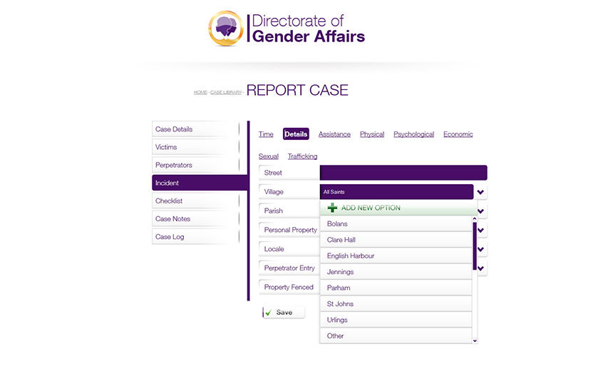 directorate of gender affairs gbsv database