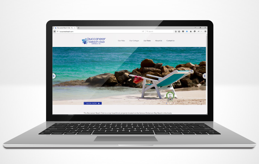 Buccaneer Beach Club Antigua website design on mackbook pro