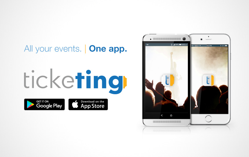 Ticketing Events logo and cell phone Antigua android iphone
